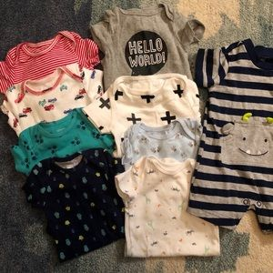 0-3 month onesies and monster outfit